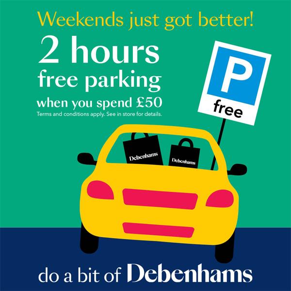 Free parking at Debenhams