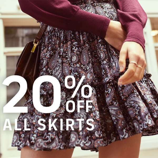 Save 20% off skirts at Oasis