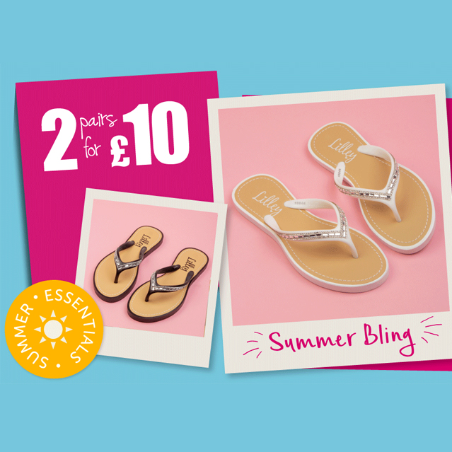 82a03eee04e8e There are many styles to choose from including ladies' diamanté toe-post  sandals in black or white ...