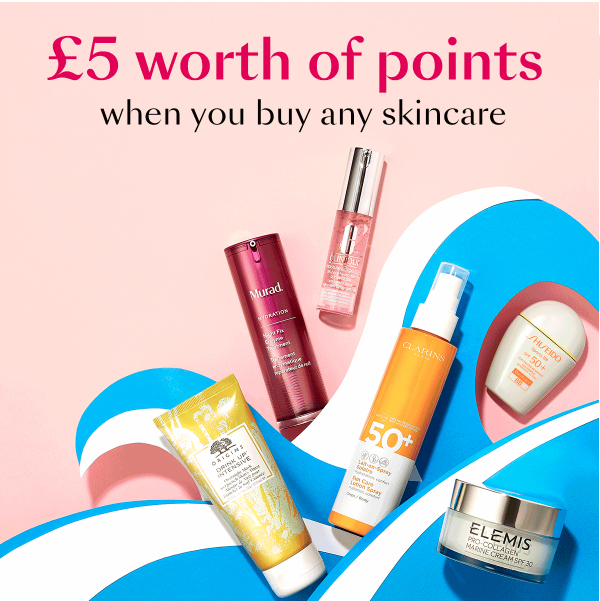 aa8a0e8a239 Beauty Club Card members at Debenhams will get £5 worth of bonus points  when purchasing any skincare products in-store. This offer applies to any  of the ...